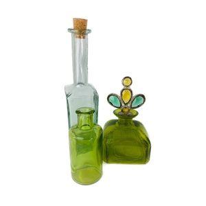 Other - Set of 3 Decorative Glass Bottles